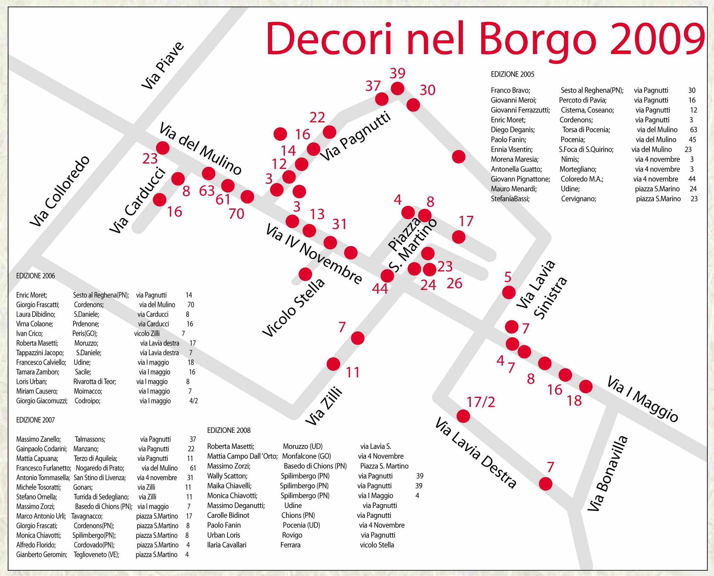 mappa Decori nel Borgo, rassegna dei pittori decoratori di Nogaredo di Prato, comune di Martignacco, provincia di Udine. Museo a cielo aperto